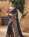 image of Sangeet Wear Art Silk Fabric Embroidered Navy Blue Saree
