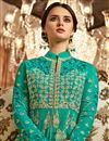 photo of Georgette Designer Anarkali Salwar Suit In Cyan With Embroidery