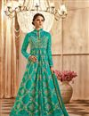 image of Wedding Special Georgette Designer Anarkali Salwar Suit In Cyan With Embroidery