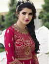 photo of Long Length Georgette Fabric Embroidered Palazzo Salwar Kameez In Pink Color