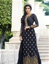 image of Long Length Georgette Fabric Embroidered Designer Salwar Kameez In Navy Blue Color