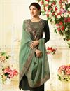 image of Jennifer Winget Designer Straight Cut Salwar Kameez In Green Art silk