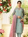 image of Jennifer Winget Art Silk Party Wear Embroidery Work Straight Cut Salwar Suit