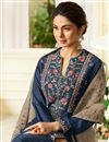 photo of Festive Special Jennifer Winget Navy Blue Embellished Art Silk Designer Party Wear Palazzo Suit