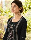 photo of Jennifer Winget Art Silk Desginer Straight Cut Salwar Kameez In Black
