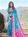image of Art Silk Fabric Designer Saree In Sky Blue Color With Weaving Work And Blouse