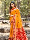 image of Weaving Work And Blouse With Orange Color Party Wear Saree In Art Silk Fabric