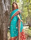 photo of Weaving Work And Blouse With Art Silk Fabric Cyan Color Function Wear Saree