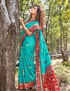 image of Weaving Work And Blouse With Art Silk Fabric Cyan Color Function Wear Saree