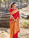 photo of Occasion Wear Art Silk Fabric Saree In Red Color With Weaving Work And Blouse