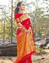 image of Occasion Wear Art Silk Fabric Saree In Red Color With Weaving Work And Blouse