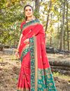 image of Art Silk Fabric Pink Color Designer Saree With Weaving Work And Blouse