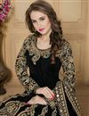photo of Long Length Black Color Taffeta Silk Fabric Embroidered Designer Anarkali Salwar Kameez