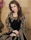 photo of Long Length Black Color Taffeta Silk Fabric Embroidered Designer Anarkali Salwar Kameez