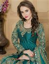 photo of Party Wear Embroidered Teal Color Taffeta Silk Fabric Designer Long Anarkali Salwar Kameez