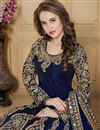 photo of Taffeta Silk Fabric Designer Navy Blue Color Embroidered Long Anarkali Salwar Kameez