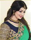 photo of Ayesha Takia Half n Half Designer Satin Chiffon-Georgette Saree in Blue-Green Color