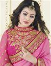 photo of Ayesha Takia Cream-Pink Color Half n Half Banarasi Silk-Chiffon Saree