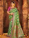image of Weaving Work Banarasi Silk Designer Saree with Fancy Blouse