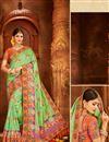 image of Function Wear Banarasi Silk Sea Green Weaving Work Saree with Fancy Blouse