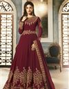 image of Georgette Party Wear Designer Embroidered Anarkali Suit In Maroon