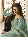 photo of Designer Party Wear Cyan Embroidered Anarkali Salwar Kameez In Georgette