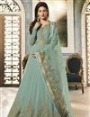 image of Designer Party Wear Cyan Embroidered Anarkali Salwar Kameez In Georgette