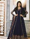 image of Georgette Party Wear Navy Blue Embroidered Designer Anarkali Suit