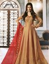image of Designer Party Wear Art Silk Embroidered Anarkali Salwar Kameez In Chikoo Color