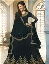 image of Designer Navy Blue Party Wear Embroidered Anarkali Salwar Suit In Georgette