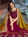 photo of Designer Fancy Fabric Burgundy Embroidered Saree With Stylish Blouse