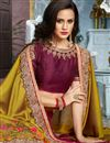 picture of Wedding Wear Burgundy Fancy Fabric Designer Saree With Heavy Blouse
