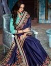 photo of Wedding Wear Navy Blue Saree With Designer Blouse