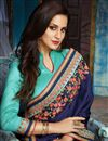 picture of Designer Navy Blue Fancy Fabric Embroidered Saree With Stylish Blouse