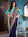 image of Wedding Wear Navy Blue Saree With Designer Blouse