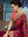 picture of Wedding Wear Fancy Fabric Saree With Designer Blouse In Burgundy Color