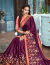 photo of Burgundy Wedding Wear Fancy Fabric Embroidered Saree With Heavy Blouse