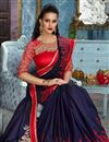 photo of Navy Blue Wedding Wear Fancy Fabric Embroidered Saree With Designer Blouse