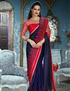 image of Wedding Wear Fancy Fabric Navy Blue Designer Saree With Stylish Blouse