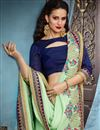 picture of Sea Green Function Wear Saree With Embellished Blouse In Fancy Fabric