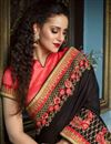 picture of Designer Black Embroidered Fancy Fabric Saree With Stylish Blouse