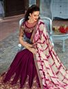 photo of Burgundy Color Function Wear Saree With Embellished Blouse In Fancy Fabric