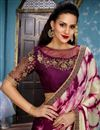 picture of Burgundy Color Function Wear Saree With Embellished Blouse In Fancy Fabric