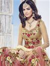 photo of Embroidered Floor Length Beige Color Anarkali Salwar Suit In Net Fabric