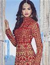 photo of Beige Color Designer Embroidered Anarkali Salwar Kameez In Raw Silk Fabric