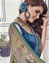 photo of Fancy Printed Casual Wear Saree In Navy Blue Chiffon