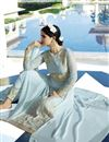 picture of Designer Embroidered Blue Color Georgette Salwar Suit