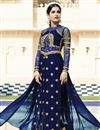 photograph of Georgette Designer Salwar Suit With Embroidery In Blue Color