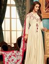 image of Party Style Embroidered Readymade Gown In Off White Fancy Fabric With Digital Printed Dupatta