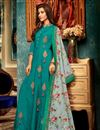 image of Fancy Fabric Designer Cyan Function Wear Readymade Gown With Digitally Printed Dupatta